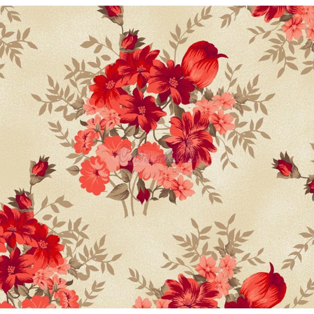 Tecido Tricoline Estampado Amor Perfeito Bege Com Vermelho