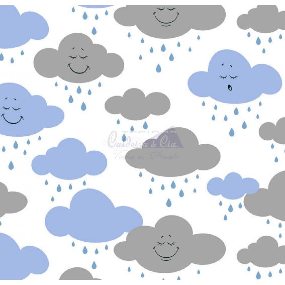 Tecido Tricoline Estampado Cloud Azul com Cinza