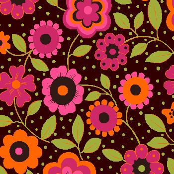 Tecido Tricoline Floral Alegria Marrom