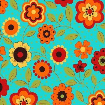 Tecido Tricoline Floral Alegria Turquesa