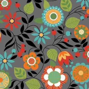 Tecido Tricoline Floral Cinza Bohêmia