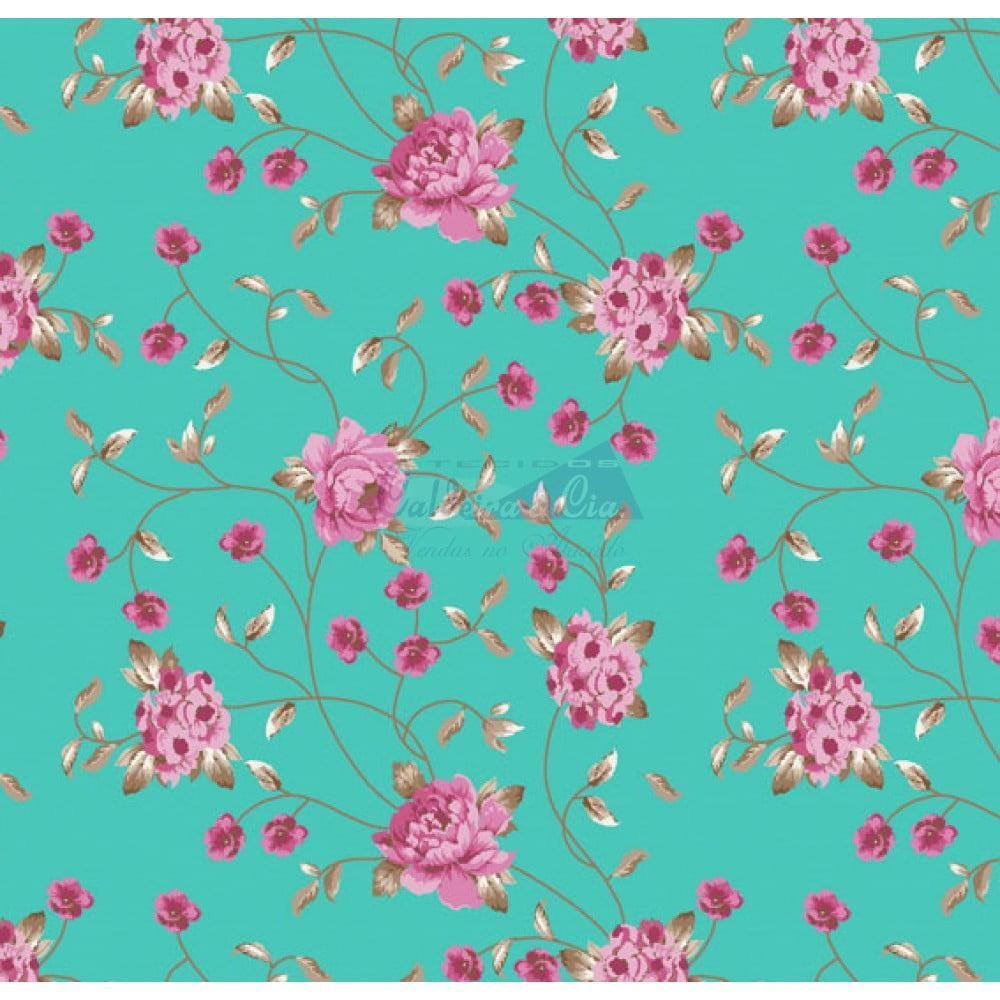 Tecido Tricoline Floral Ramos Tiffany