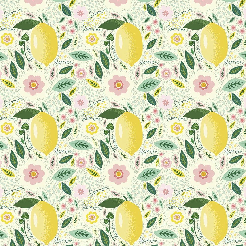 Tecido Tricoline Limão Fundo Claro