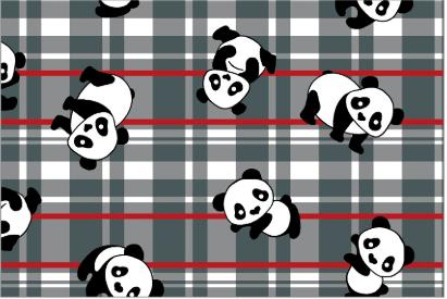 Tecido Tricoline Panda Xadrez Cinza