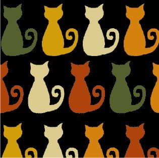 Tecido Tricoline Preto Gatinho Miau