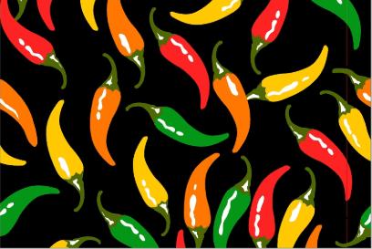 Tecido Tricoline Preto Pimentas Coloridas