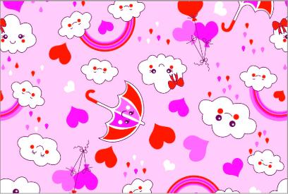 Tecido Tricoline Rosa Chuva de Amor