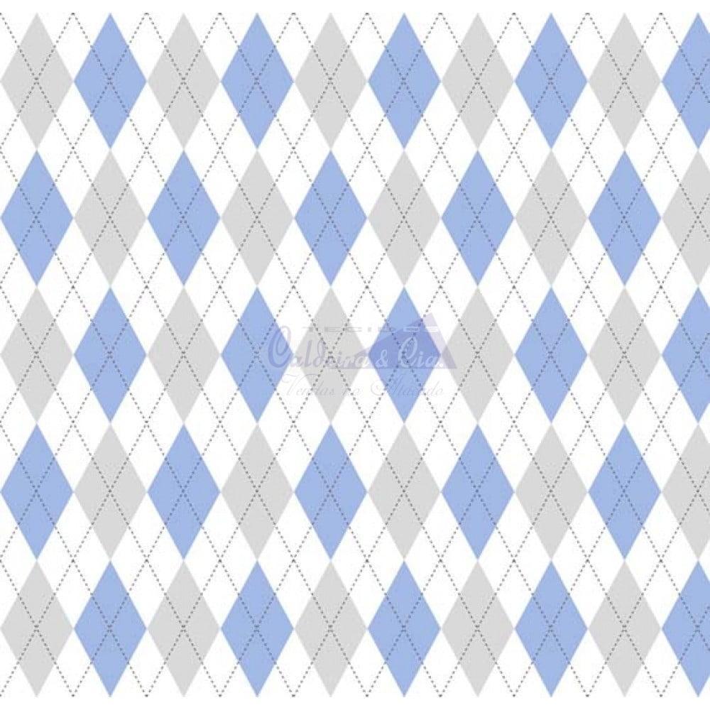 Tecido Tricoline Trapézio Azul com Cinza