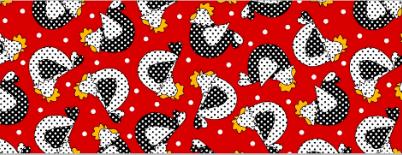 Tecido Tricoline Vermelho Galinha Poá