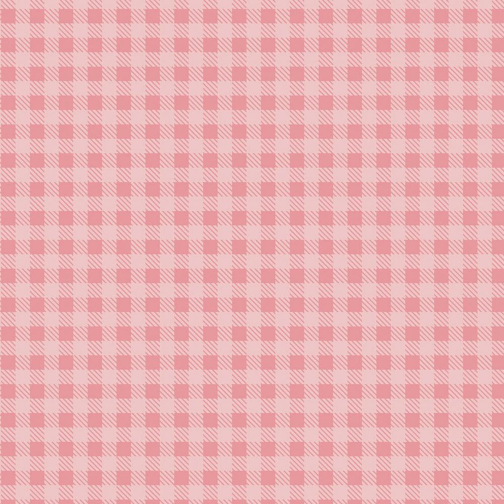 Tecido Tricoline Xadrez Rosa Bebê