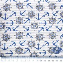 Tecido Tricoline Branco com Listra Azul e Desenho Naval