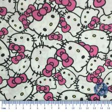 Tecido Tricoline Fundo Branco Rosto Hello Kitty Laço Rosa
