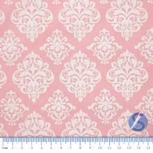 Tecido Tricoline Fundo Rosa com Desenho Branco
