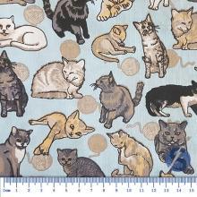Tecido Tricoline Fundo Azul com Gatinhos