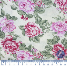 Tecido Tricoline Fundo Bege com Flores Rosas 2