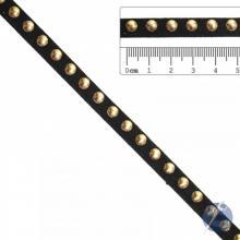 Tira de Camurça Preta com Tacha Dourada 8mm - A partir de 0,50cm