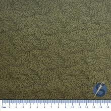 Tecido Tricoline Fundo Verde Musgo Folhas