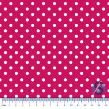 Tecido Tricoline Fundo Pink com Bolas Brancas de 5mm