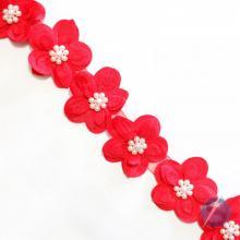 Guipir Flor com Pérola no Meio - Vermelho