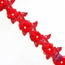 Guipir Flor com Pérola - Vermelho