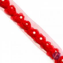 Guipir Botão de Rosa com Pérola - Vermelho