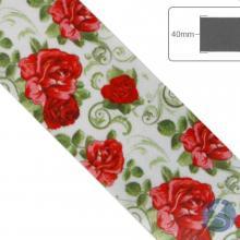 Fita de Cetim Flores vermelhas com fundo branco - 40mm