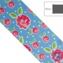 Fita de Cetim Flores rosas Fundo azul claro - 40mm
