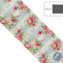 Fita de Cetim Flores Rosas Fundo Verde Claro - 40mm