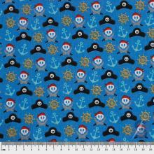 Tecido Tricoline Azul Piratas e Caveiras