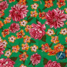 Tecido Chita Verde Flor Rosa Hibisco