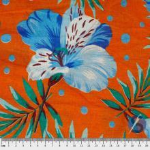 Chita Laranja Flor Azul
