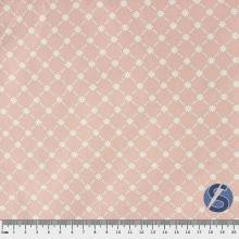 Tecido Tricoline Rosa Flores Triângulo