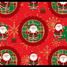 Tecido Tricoline Vermelho Papai Noel