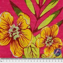 Tecido Chita Pink Flor Grande Amarela