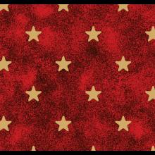 Tecido Tricoline Vermelho Estrela Dourada