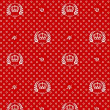 Tecido Tricoline Vermelho Coroas Ramos Branco
