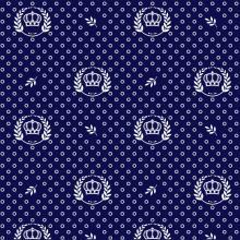 Tecido Tricoline Azul Marinho Coroas e Ramos