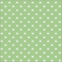 Tecido Tricoline Verde Água Poá e Coroas