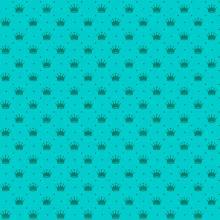 Tecido Tricoline Verde Tiffany Poá e Coroas
