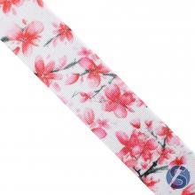 Fita de Gorgurão Branca Flor Rosa 38mm