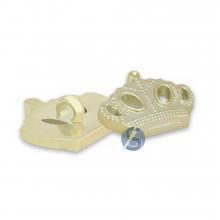 Botão Plástico Coroa Dourada com Pé 25 Unidades