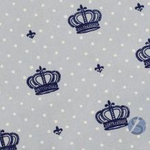 Tecido Tricoline Azul com Coroa Azul Marinho