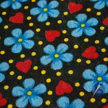 Tecido Chita Preto Flor Azul