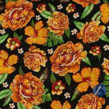 Chita Preta Flor Laranja Amarela