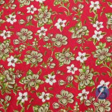 Tecido Tricoline Vermelho Flores Bege