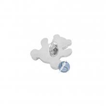 Botão Plástico Ursinho Prata com Pé 25 Unidades