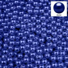 Pérola 8 mm Cor Azul Clássico Abs Com Furo 500 gr