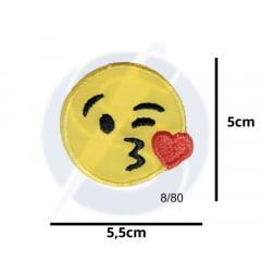 Aplique Termocolante Emoji Beijo 3 Unidades Ref:8/80