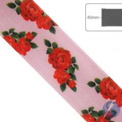 Fita de Gorgurão Flores Vermelhas fundo rosa - 40mm