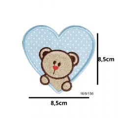Aplique Termocolante Coração Azul Urso e Poá 3 Unidades Ref:16/9/156